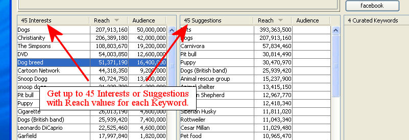 Displays Up to 45 Interests or Suggestions per Keyword